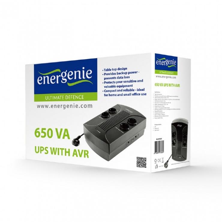 Imagine UPS 650VA line interactive de 650VA si 390W, Gembird EG-UPS-001-4