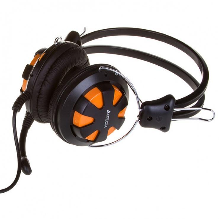 Imagine Casti stereo cu microfon Orange/Black jack 3.5mm, A4Tech Comfortfit HS-28-3-1