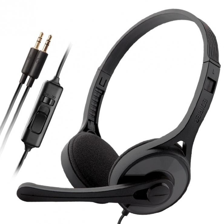 Imagine Casti EDIFIER Stereo, microfon pe casca, control volum pe fir, black, K550