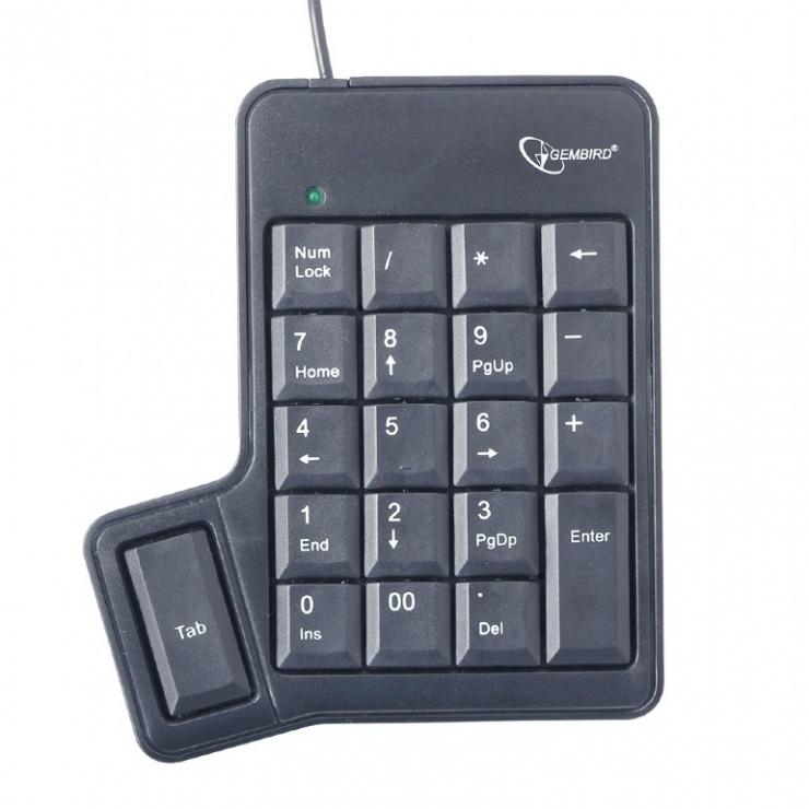 Imagine Tastatura numerica pe USB + tasta TAB, Gembird KPD-UT-01