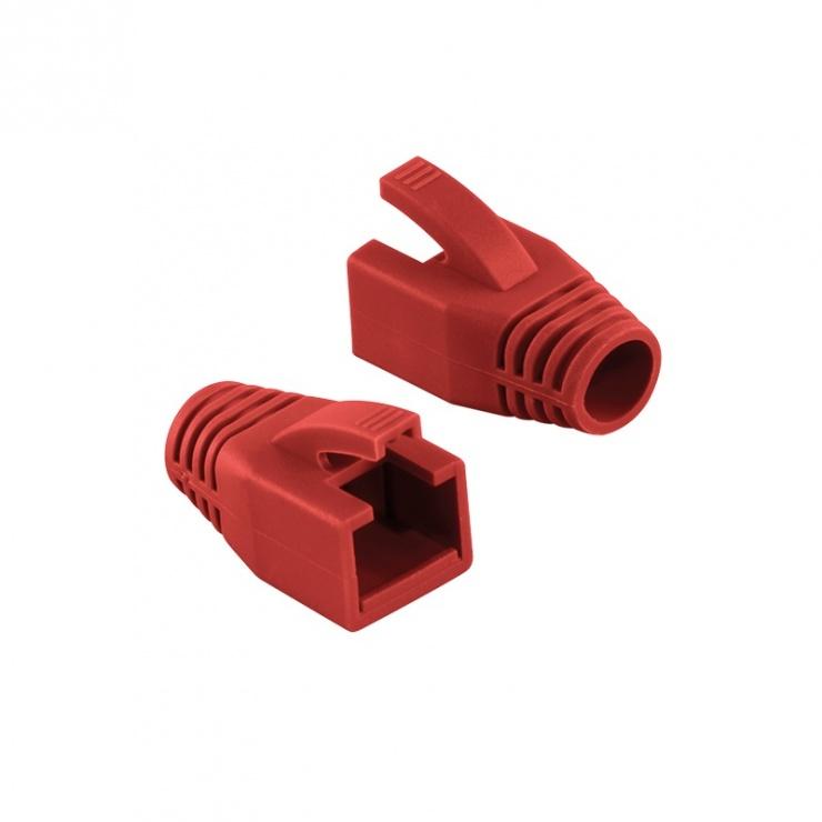 Imagine Manson cablu retea diametru max 8mm rosu, Logilink MP0035R