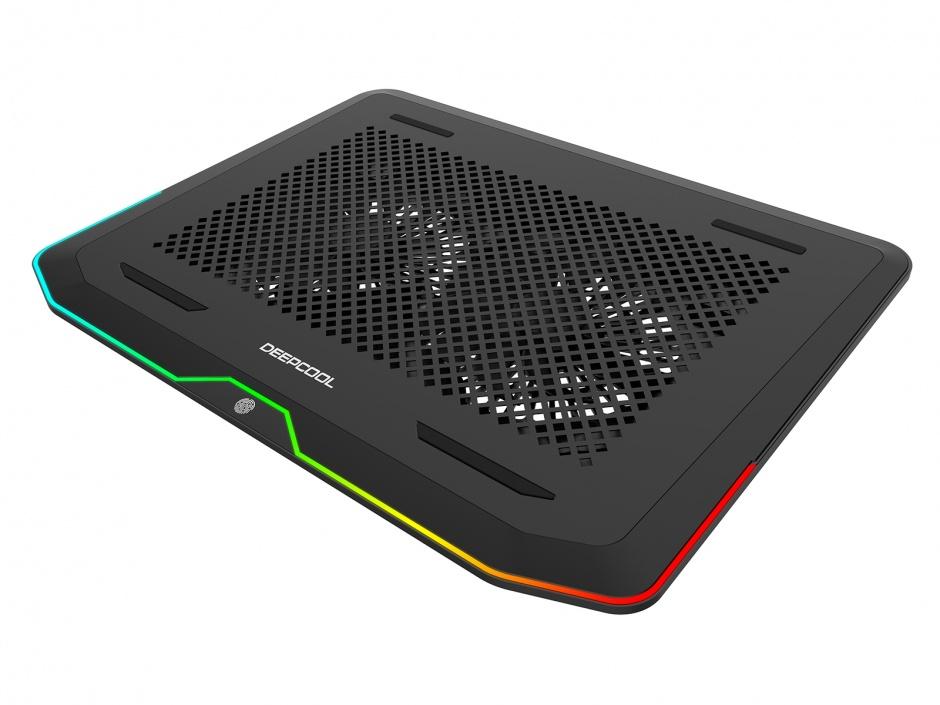 """Imagine Stand notebook 17"""" cu iluminare RGB 2 x fan 14cm + 2 x USB 3.0, Deepcool N80 RGB-1"""