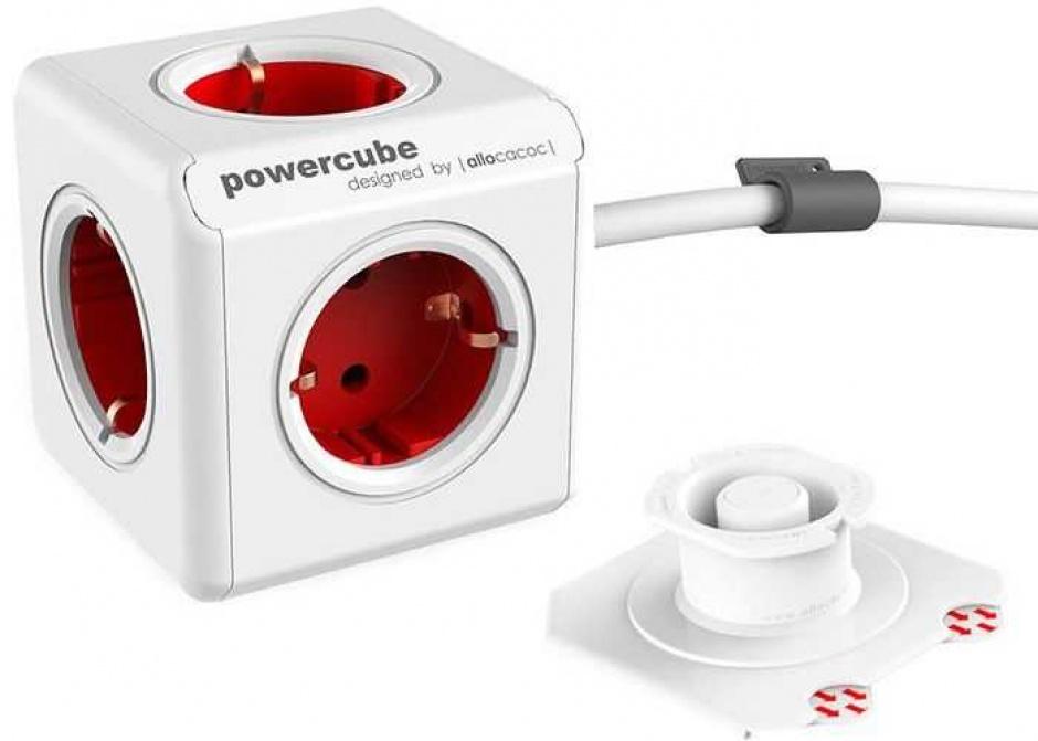 Imagine Prelungitor PowerCube in forma de cub 5 prize Schuko Rosu 1.5m, Allocacoc