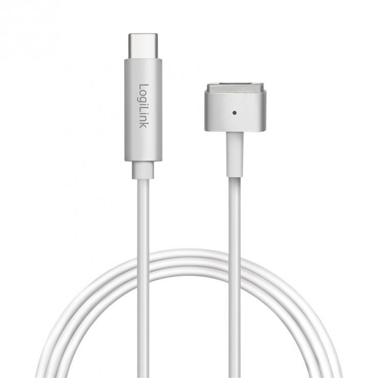 Imagine Cablu de incarcare USB-C la Apple MagSafe 2 T-T 1.8m Argintiu, Logilink PA0226