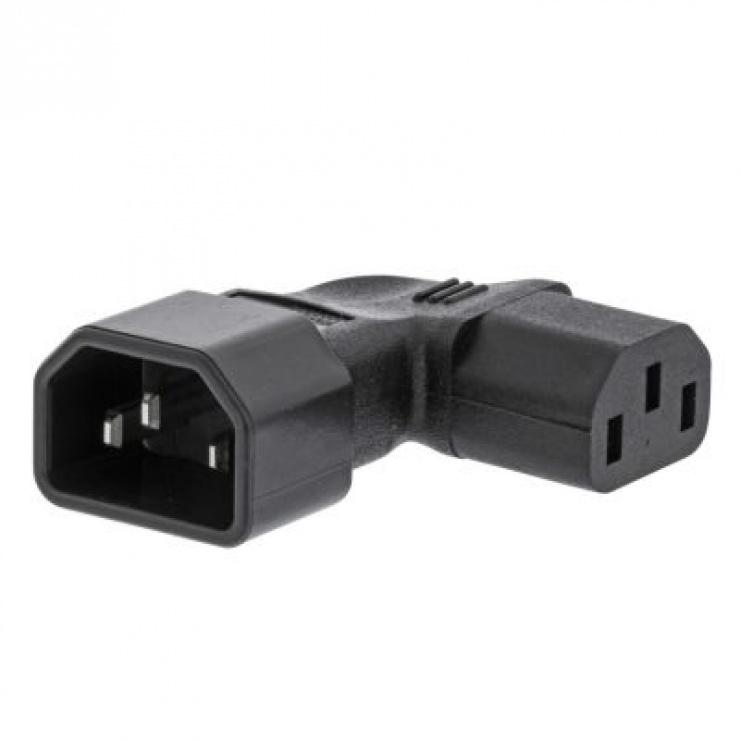 Imagine Conector de alimentare IEC320 C13 la C14 unghi 90 grade dreapta Negru, PCGP11904BK