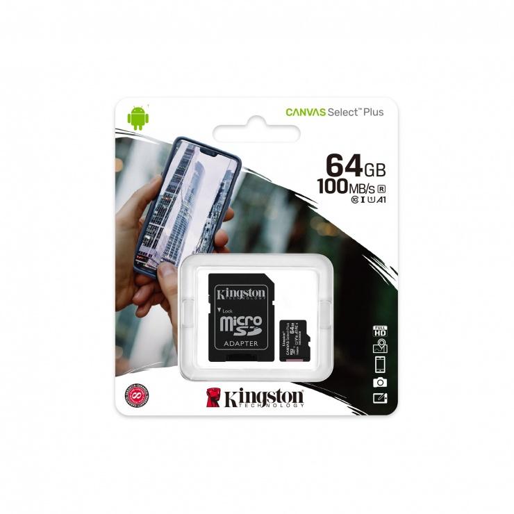Imagine Card de memorie micro SD 64GB clasa 10 Canvas Select Plus, Kingston SDCS2/64GB