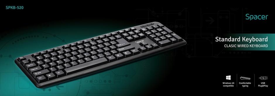 Imagine Tastatura USB 104 taste Negru, Spacer SPKB-520-1
