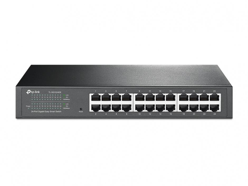 Imagine Switch Easy Smart 24 porturi Gigabit, TP-LINK TL-SG1024DE