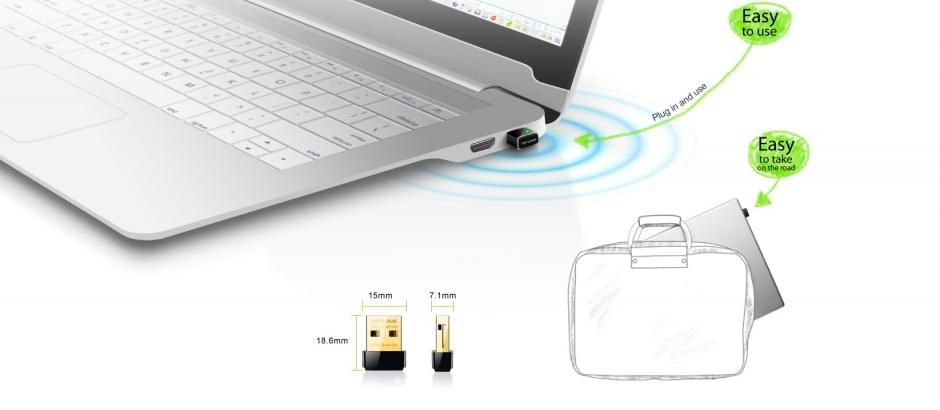 Imagine Adaptor Wireless N USB 150Mbps, nano, TP-Link TL-WN725N-3