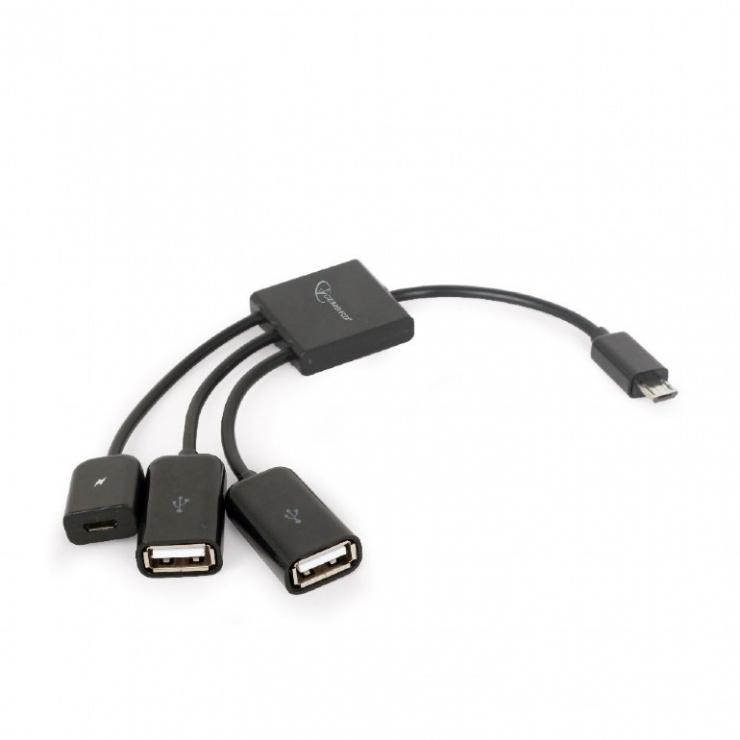Imagine HUB USB OTG micro USB la 2 x USB-A + 1 x micro USB pentru incarcare, Gembird UHB-OTG-02