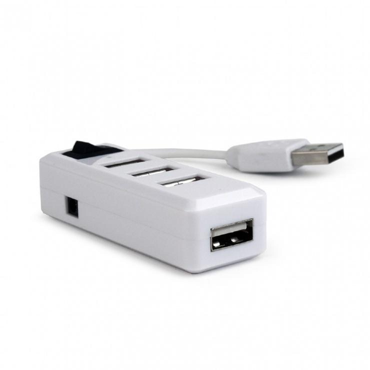 Imagine Hub cu 4 porturi USB 2.0 si switch, Gembird UHB-U2P4-21