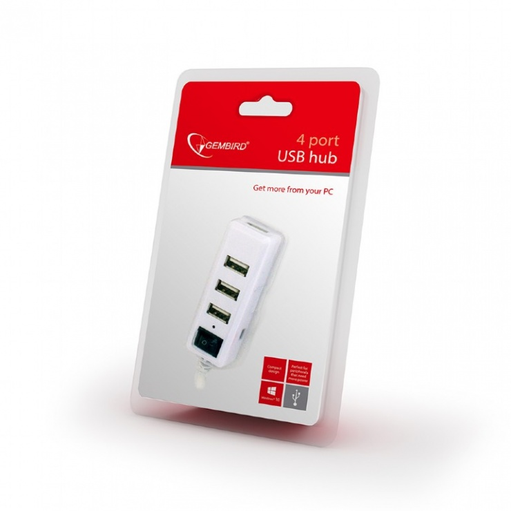 Imagine Hub cu 4 porturi USB 2.0 si switch, Gembird UHB-U2P4-21-2