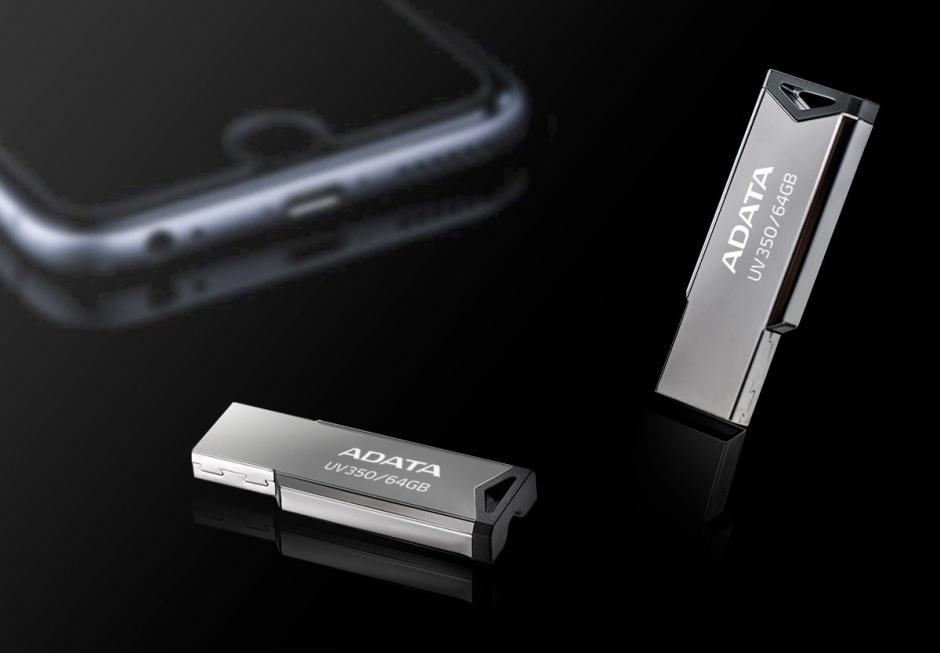 Imagine Stick USB 3.1 Gen 1 64GB Gri, A-DATA AUV350-64G-RBK-1