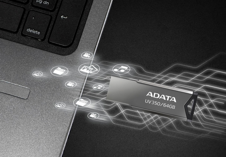 Imagine Stick USB 3.1 Gen 1 64GB Gri, A-DATA AUV350-64G-RBK-3