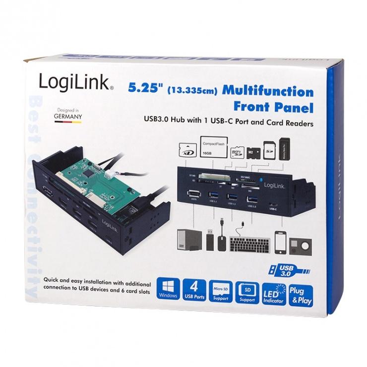 "Imagine Front panel 5.25"" cu 3 x USB 3.0-A + 1 x USB-C + 1 x eSATA + cititor carduri, Logilink UA0341"