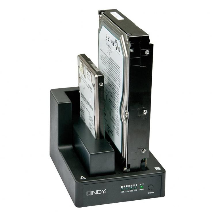 """Imagine Docking station USB 3.0 pentru HDD SATA 2.5""""/3.5"""" cu functie de Clona, LINDY L43113"""
