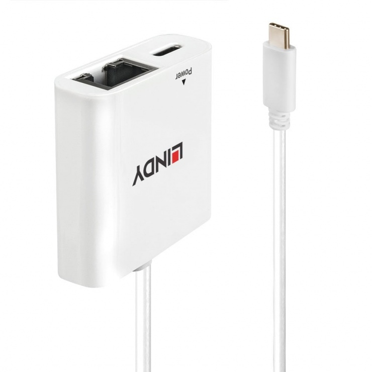 Imagine Adaptor USB-C la Gigabit LAN + alimentare USB-C T-M Alb, Lindy L43284