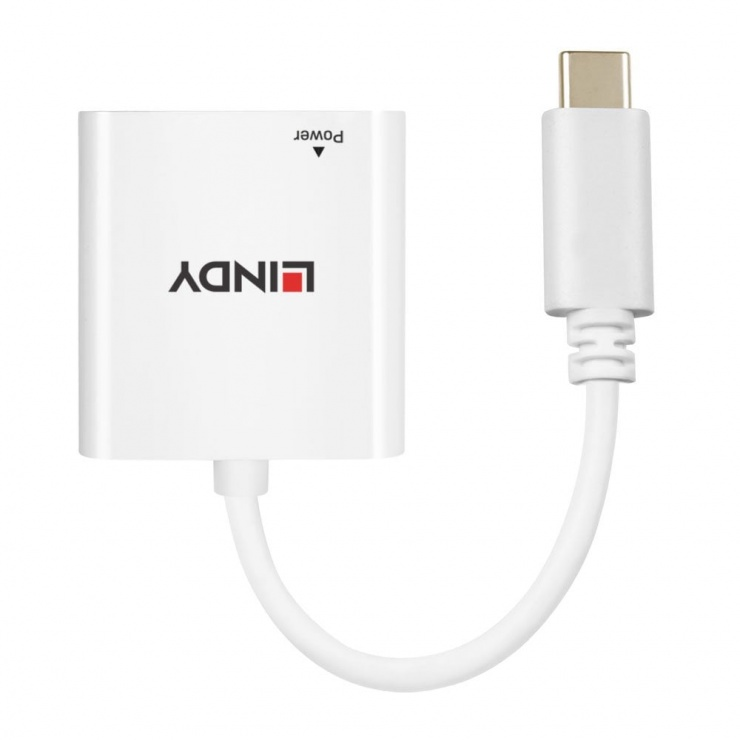 Imagine Adaptor USB-C la Gigabit LAN + alimentare USB-C T-M Alb, Lindy L43284