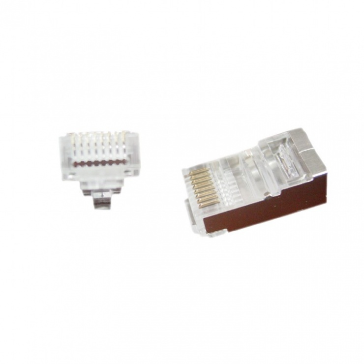 Imagine Set 100 buc conector RJ45 cat 5e FTP, Gembird LC-PTF-01/100