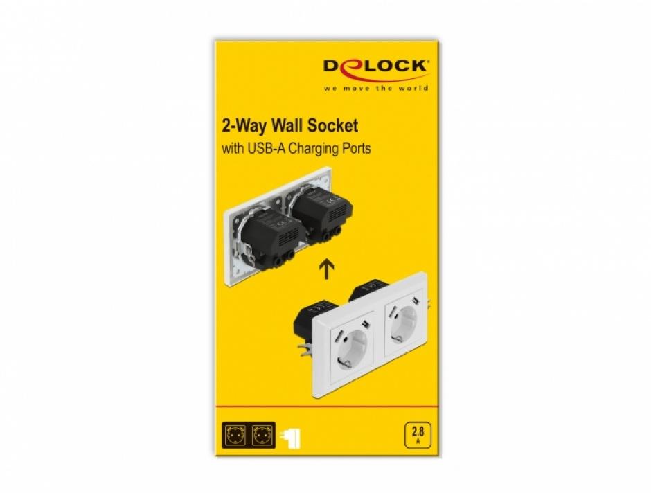 Imagine Priza perete 2 porturi + 4 x USB 2.8A, Delock 11475