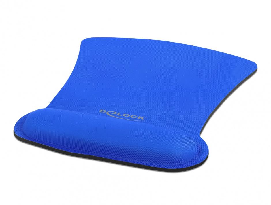 Imagine Mouse pad ergonomic cu suport pentru incheietura mainii Bleu, Delock 12699