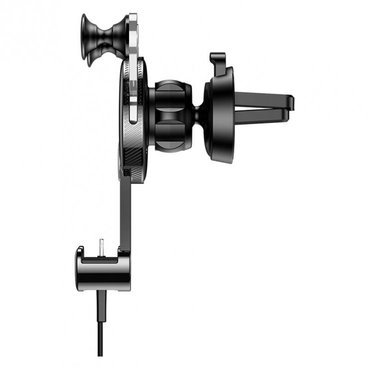 Imagine Suport auto magnetic pentru smartphone cu montare ventilator + cablu USB-C, Baseus YY