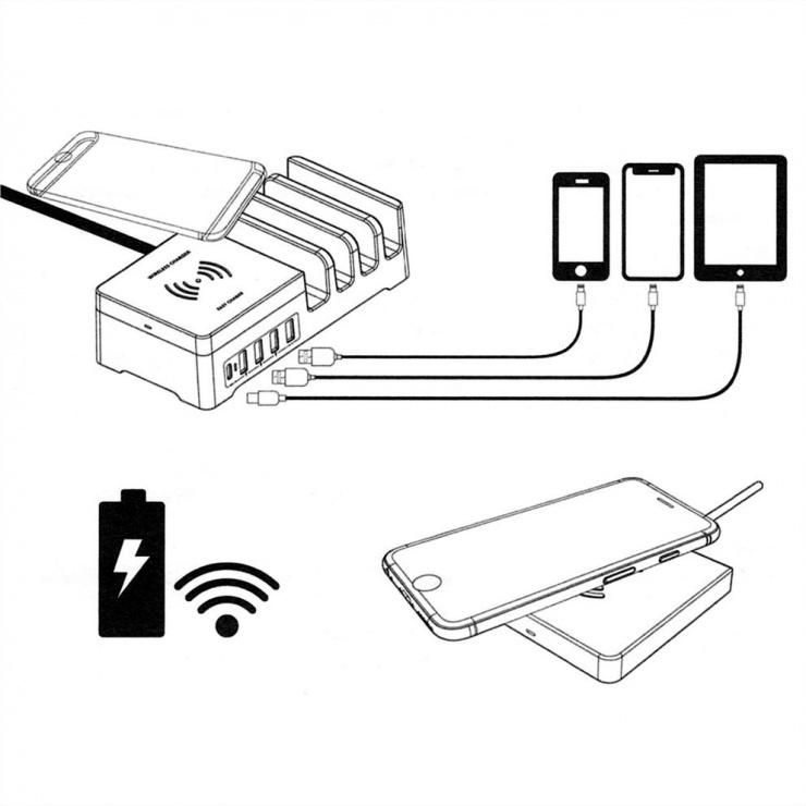 Imagine Statie de incarcare (incarcator priza) cu 5 x USB + Pad incarcare wireless 10W, Roline 19.11.1012
