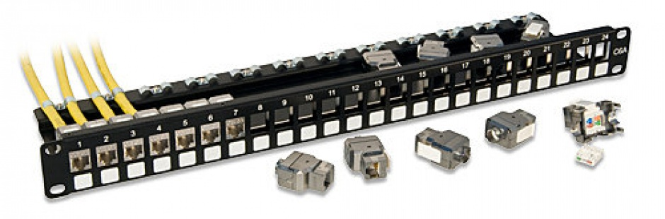 "Imagine Patch panel modular 19"" 1U cat 6A cu 24 x RJ45 STP Keystone, Lindy L25894"