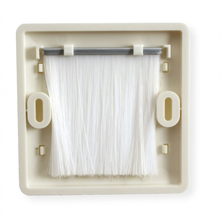 Imagine Priza pentru organizarea cablurilor cu perii 86x86mm Alb, Value 25.99.8206