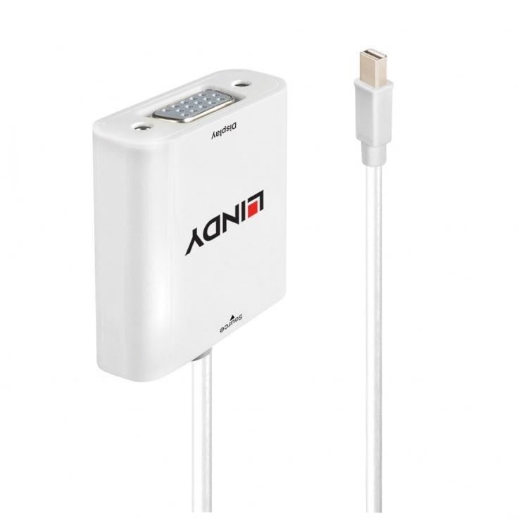 Imagine Adaptor Mini Displayport la VGA activ T-M Alb, Lindy L38310