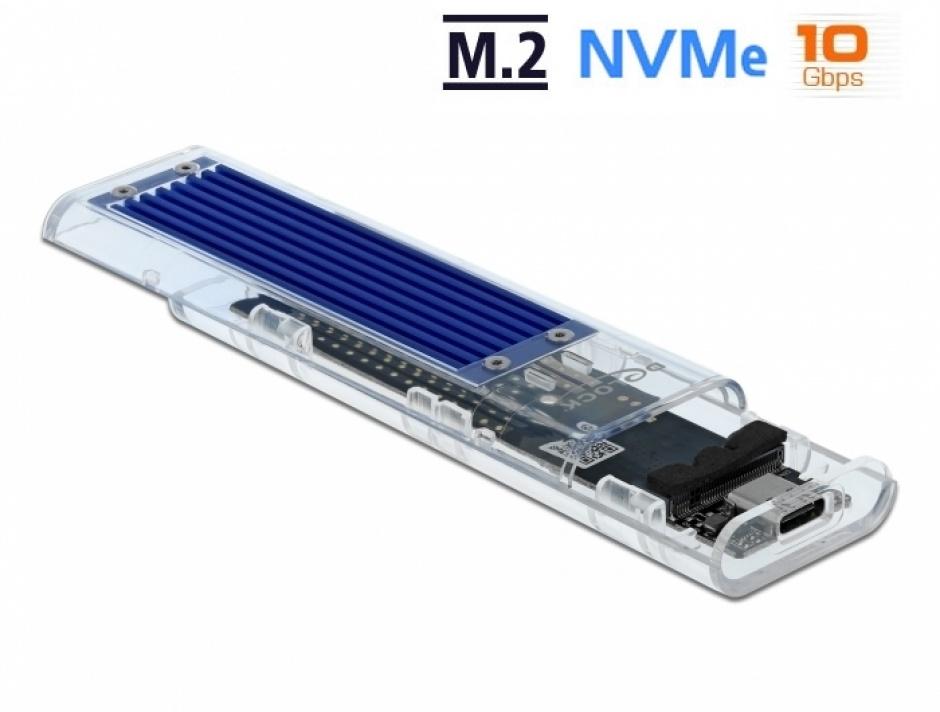 Imagine Rack extern USB-C pentru M.2 NVME PCIe SSD, Delock 42620