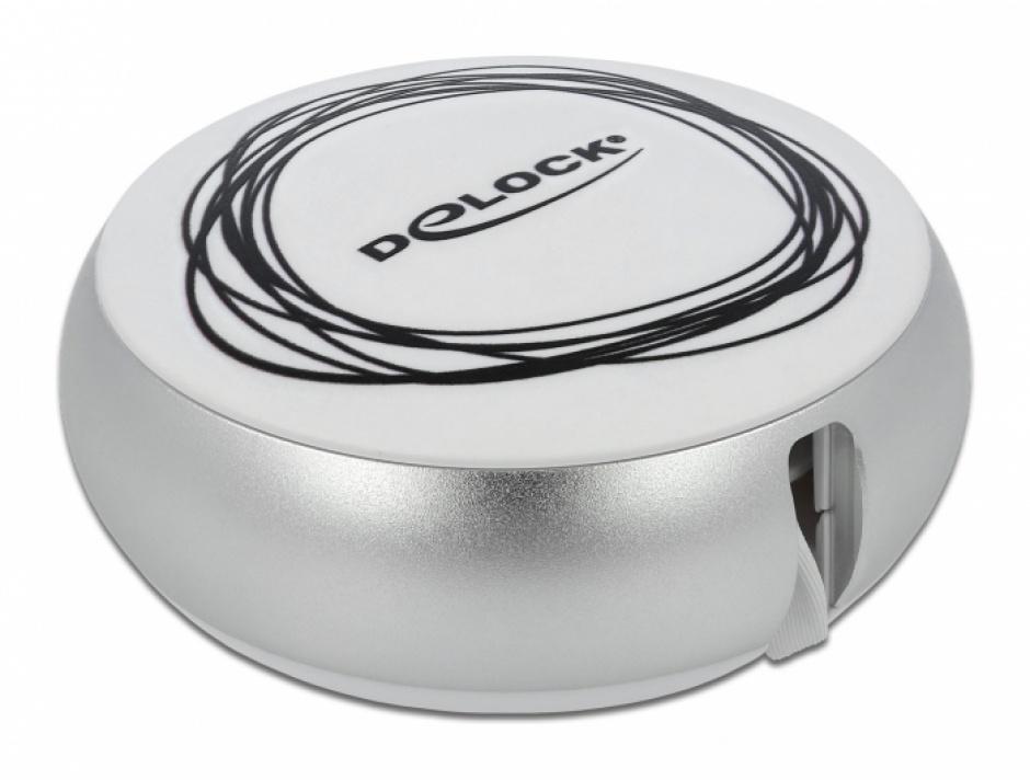 Imagine Cablu de date si incarcare USB 2.0 la micro USB-B + USB-C retractabil Alb/Argintiu, Delock 85821