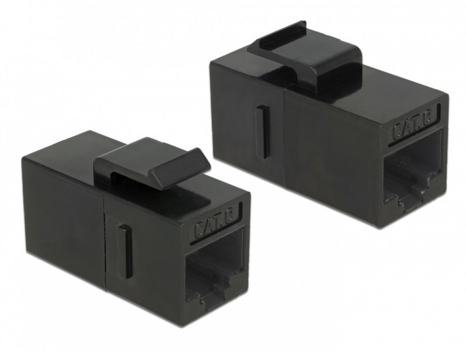 Imagine Cupla Keystone RJ45 Cat.6 UTP Negru, Delock 86629