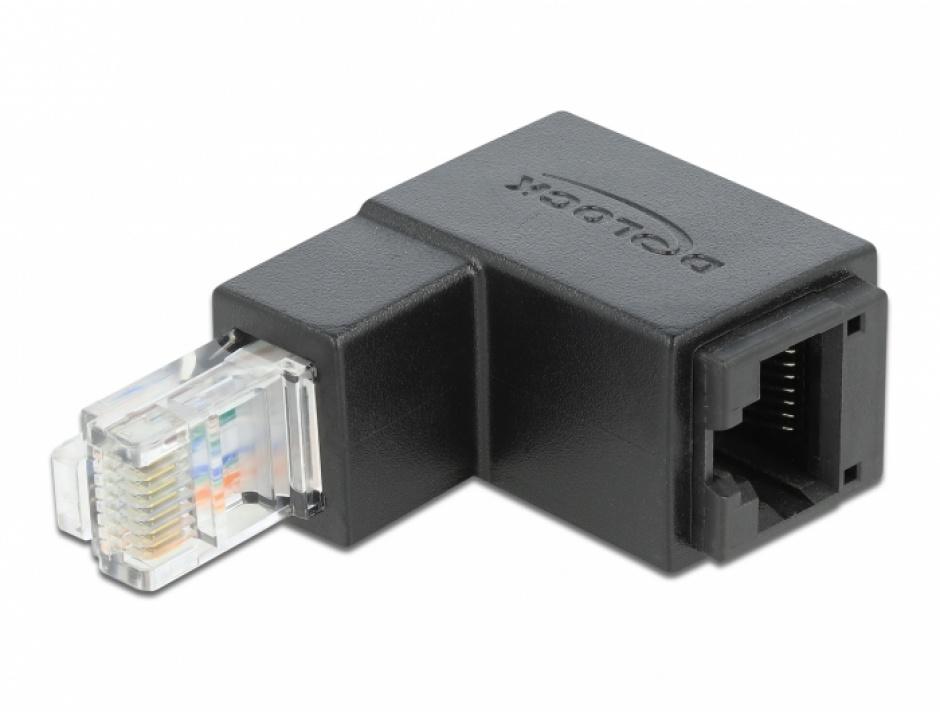 Imagine Adaptor RJ45 UTP in unghi jos cat 6 T-M negru, Delock 86423