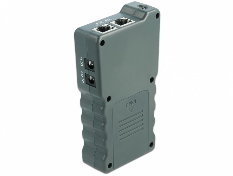 Imagine Tester cablu RJ45 / PoE / DC cu LCD, Delock 63110