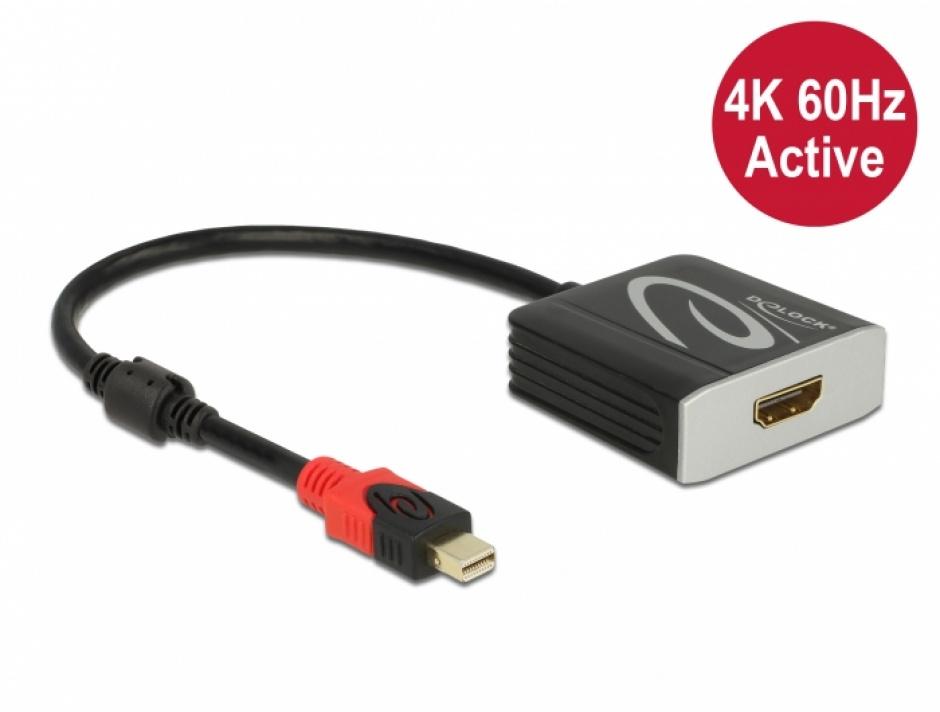 Imagine Adaptor activ mini DisplayPort 1.4 la HDMI 4K@60 Hz (HDR), Delock 65302