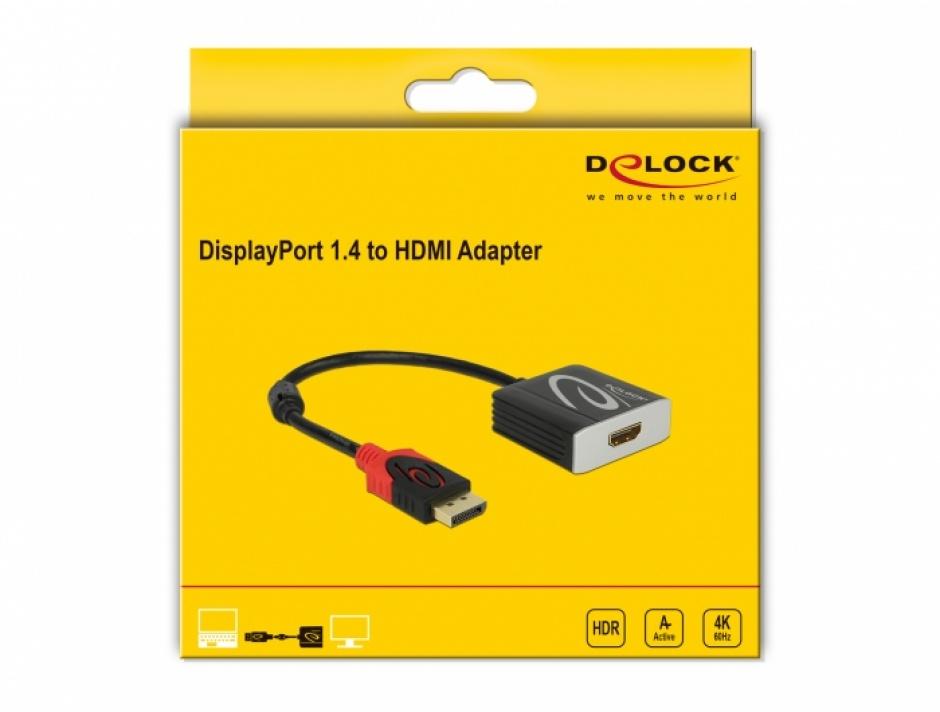 Imagine Adaptor activ DisplayPort 1.4 la HDMI 4K@60 Hz (HDR), Delock 65207