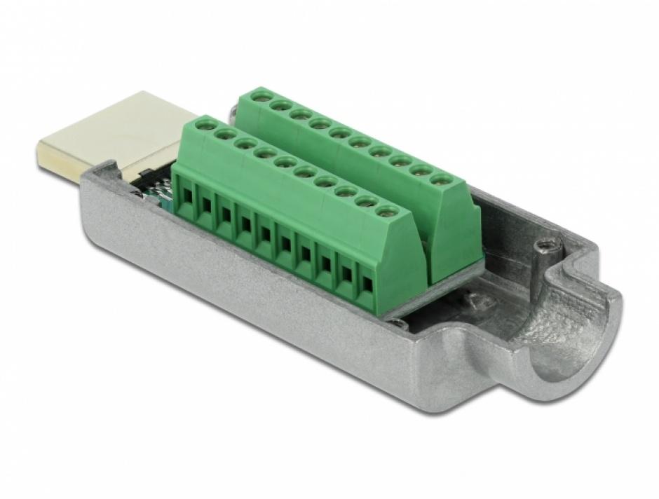 Imagine Conector HDMI la bloc terminal carcasa metalica, Delock 65201