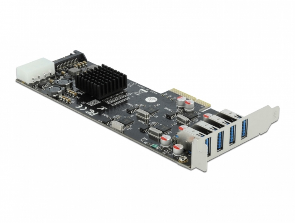 Imagine PCI Express cu 4 x SuperSpeed USB (USB 3.2 Gen 1) USB-A Quad Channel LPFF, Delock 89008