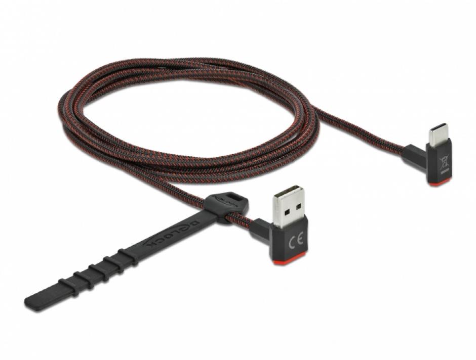 Imagine Cablu EASY-USB 2.0 la USB-C unghi sus/jos 1.5m textil, Delock 85277