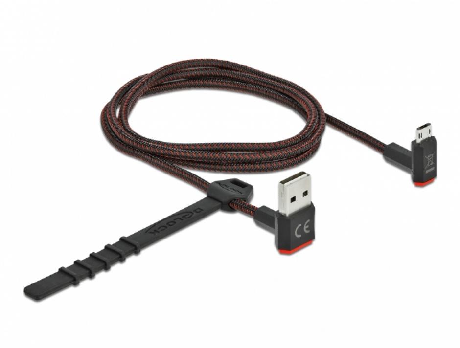 Imagine Cablu EASY-USB 2.0 la micro-B EASY-USB unghi sus/jos 1m textil, Delock 85266