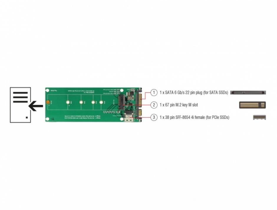 Imagine Convertor U.2 SFF-8654/SATA la M.2 Key M, Delock 63953