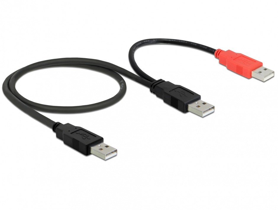 Imagine Cablu USB 2.0 A la 2 x USB 2.0 A T-T 0.75m, Delock 82769