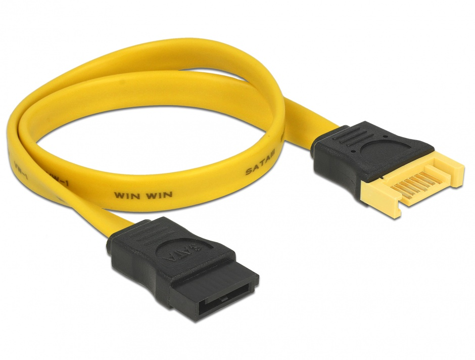 Imagine Cablu prelungitor SATA III 6 Gb/s date T-M 30cm, Delock 82855