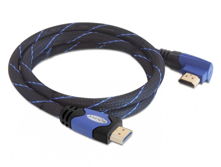 Imagine Cablu HDMI 4K v1.4 unghi 90 grade T-T 2m albastru, Delock 82956
