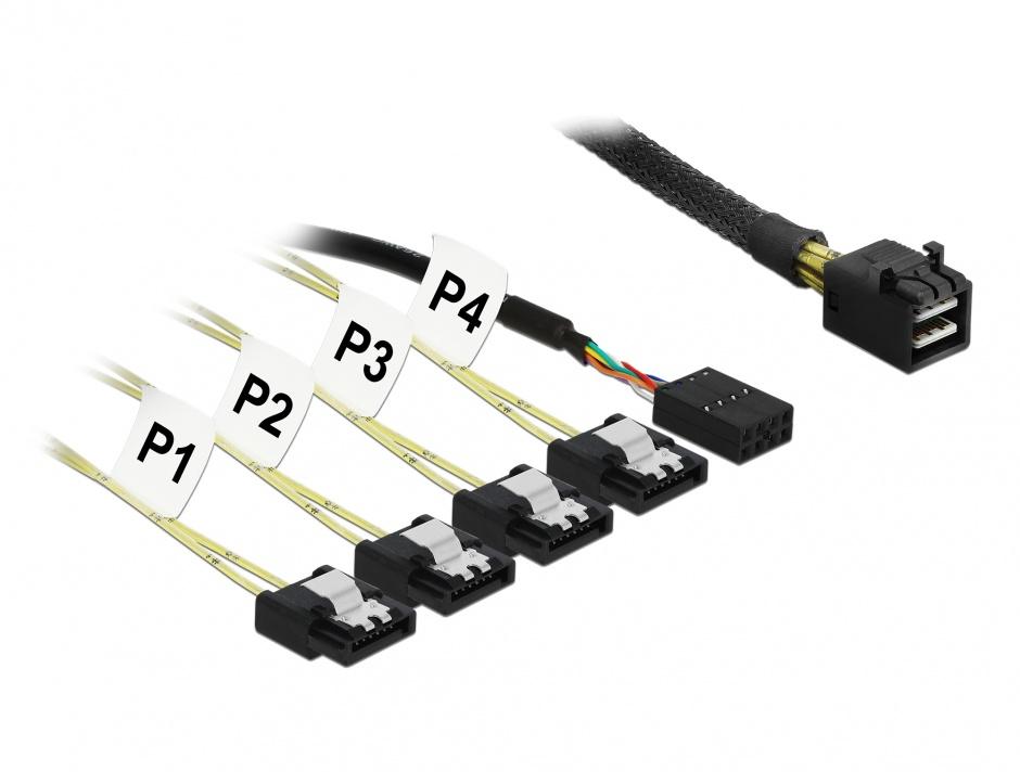 Imagine Cablu Mini SAS HD SFF-8643 la 4 x SATA 7 pini Reverse + Sideband 1m, Delock 83322