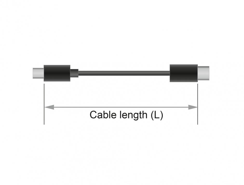 Imagine Cablu USB 2.0 tip C T-T Negru 2m 3A, Delock 83332
