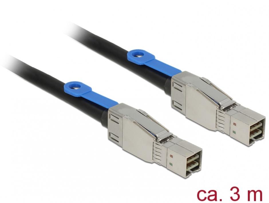 Imagine Cablu Mini SAS HD SFF-8644 la Mini SAS HD SFF-8644 3m, Delock 83396