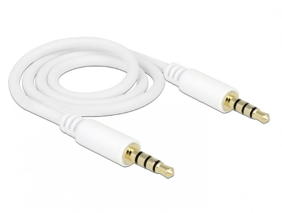 Imagine Cablu stereo jack 3.5mm 4 pini Alb T-T 0.5m, Delock 83439