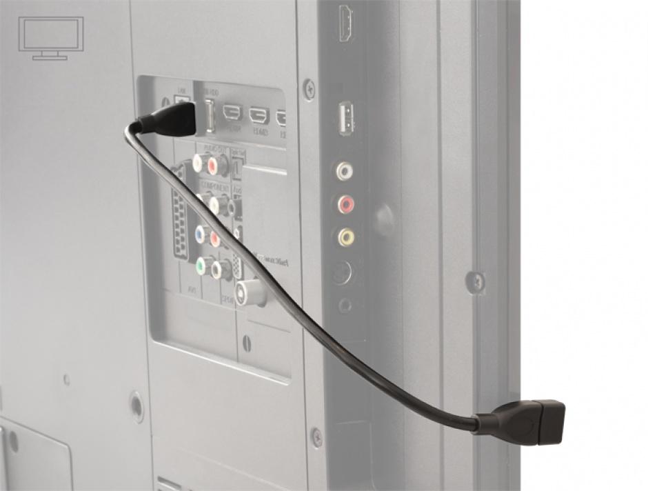 Imagine Cablu prelungitor USB 2.0-A T-M ShapeCable 0.35m Negru, Delock 83498